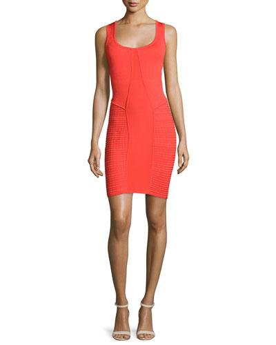Sleeveless Scoop-Neck Sheath Dress, Red