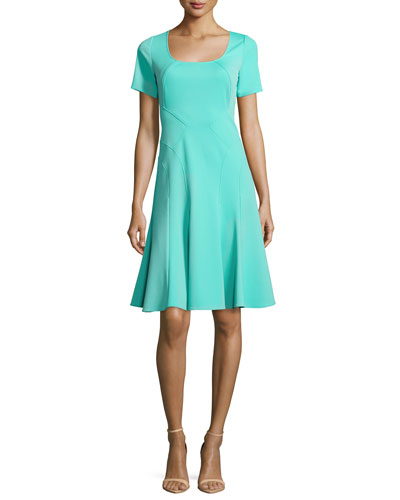 Aura Short-Sleeve Fit-&-Flare Dress, Lagoon