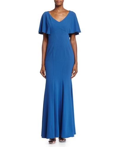 Sarabi Flutter-Sleeve Mermaid Gown