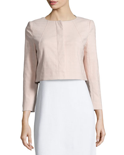 Susan Long-Sleeve Cropped Jacket, Rose