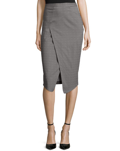 Marcy Faux-Wrap Pencil Skirt, Summer Storm