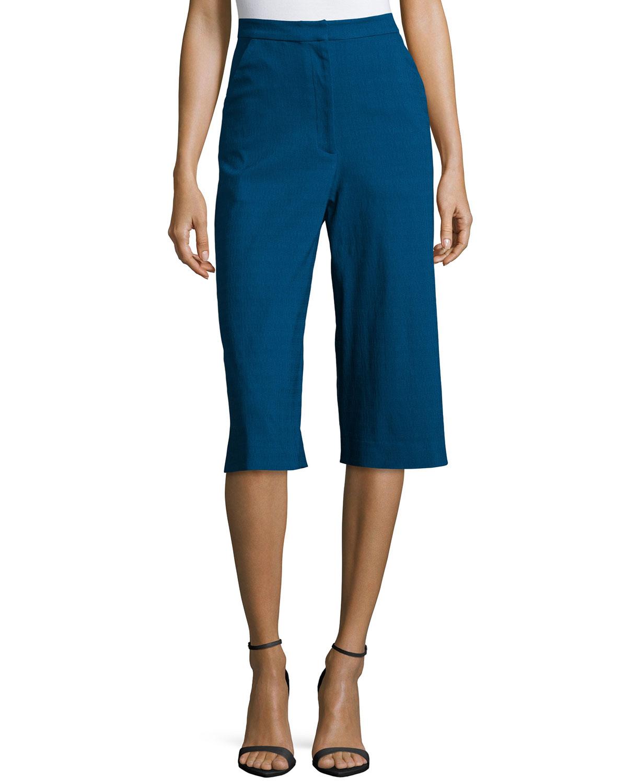 Straight-Leg Culotte Pants, Night Fall
