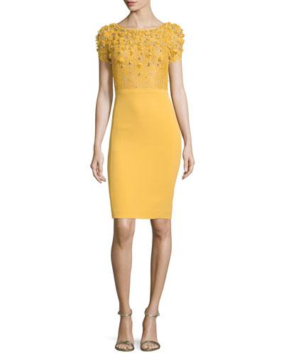 Embellished-Bodice Cocktail Dress, Honeybee