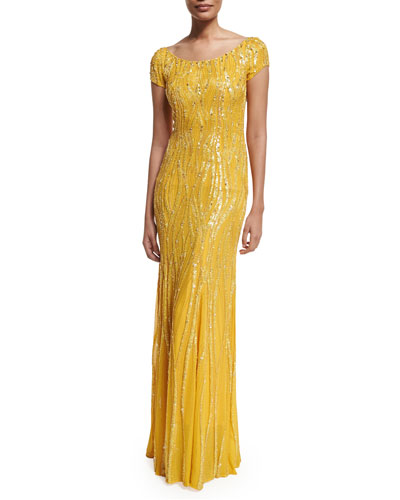 Cap-Sleeve Embellished Gown, Honey Bee
