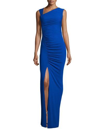 Sleeveless Asymmetric Tank Gown, Sapphire