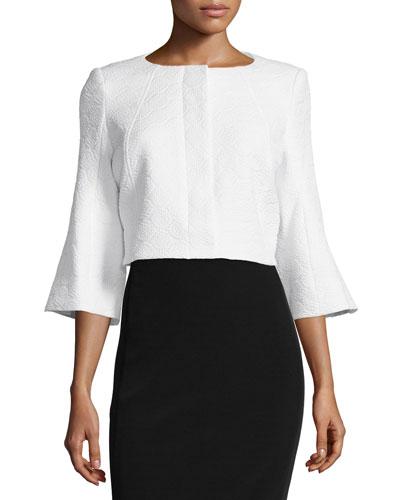 Susanna Bell-Sleeve Cropped Jacket, White