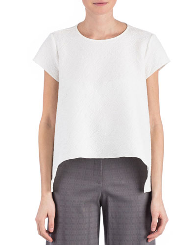 Juni Arched-Hem Blouse, White