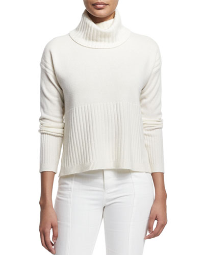 Cashmere Ribbed-Trim Turtleneck Sweater, Soft White
