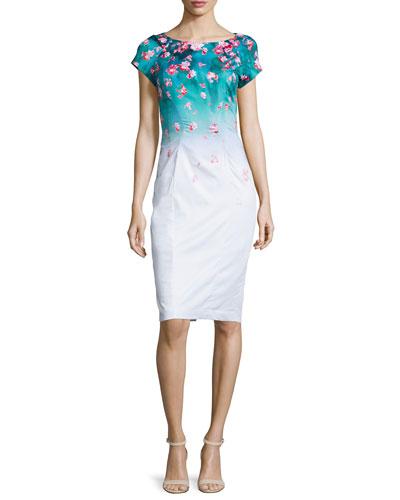 Carmen Floral-Print Ombre Dress, Fiji/Poppy/Multi