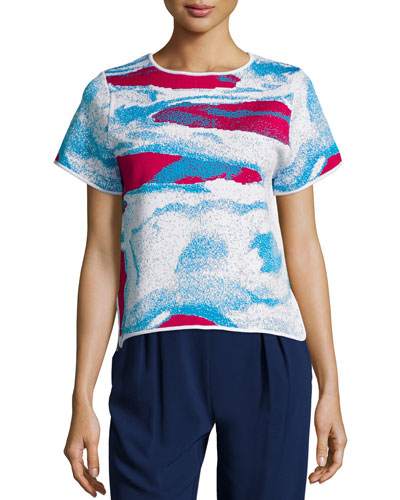 Ida Short-Sleeve Abstract-Print Top, Raspberry/Cyprus