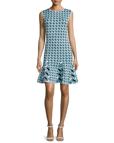 Ines Geometric-Print Flounce-Hem Dress, Lagoon/Black/White