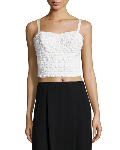 Embellished Cropped Tank Top, White