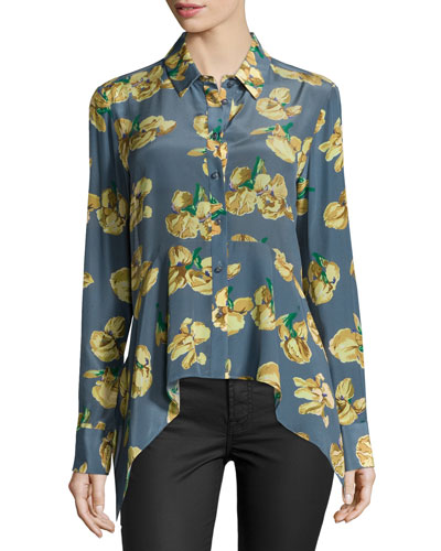 Dyna Floral-Print Blouse, Daffodil/Summer
