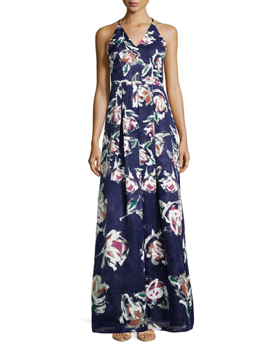 V-Neck Floral-Print Ball Gown
