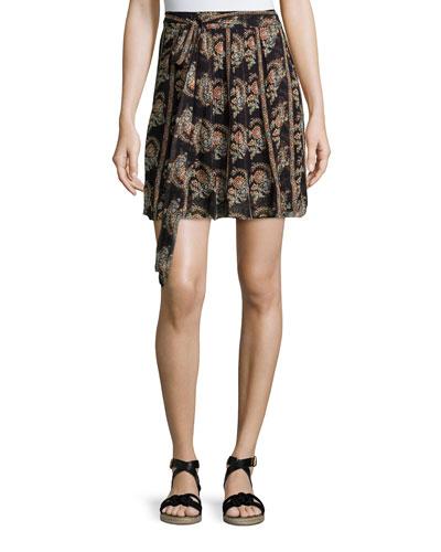 Sistle Printed Silk Wrap Skirt, Black
