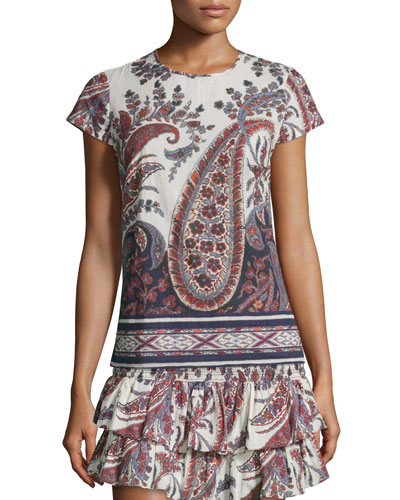 Severine Cotton Paisley Top, Midnight