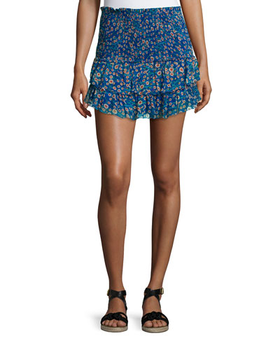 Serek Smocked Chiffon Skirt, Electric Blue
