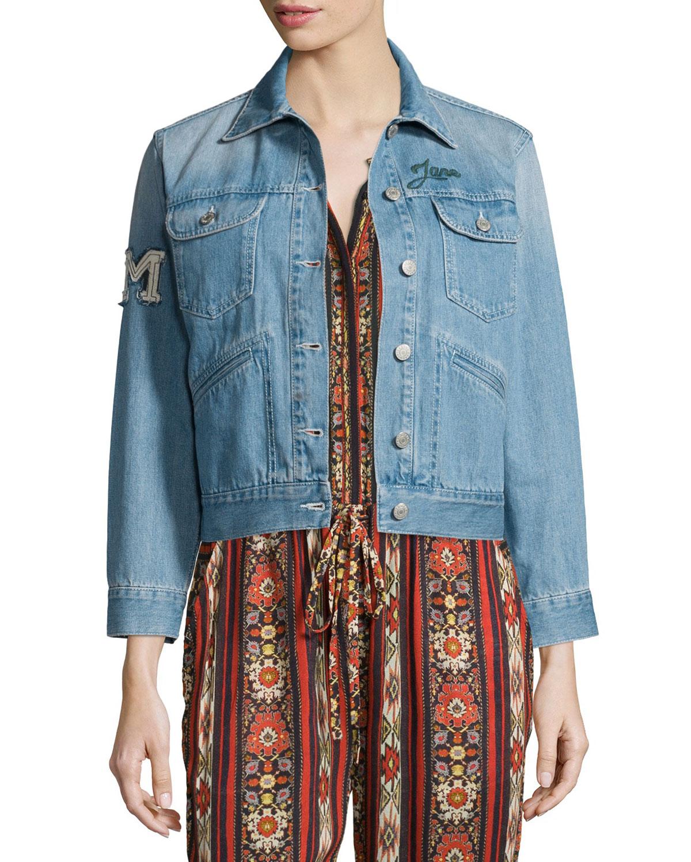 Purd Rain Makers Embroidered Denim Jacket, Blue