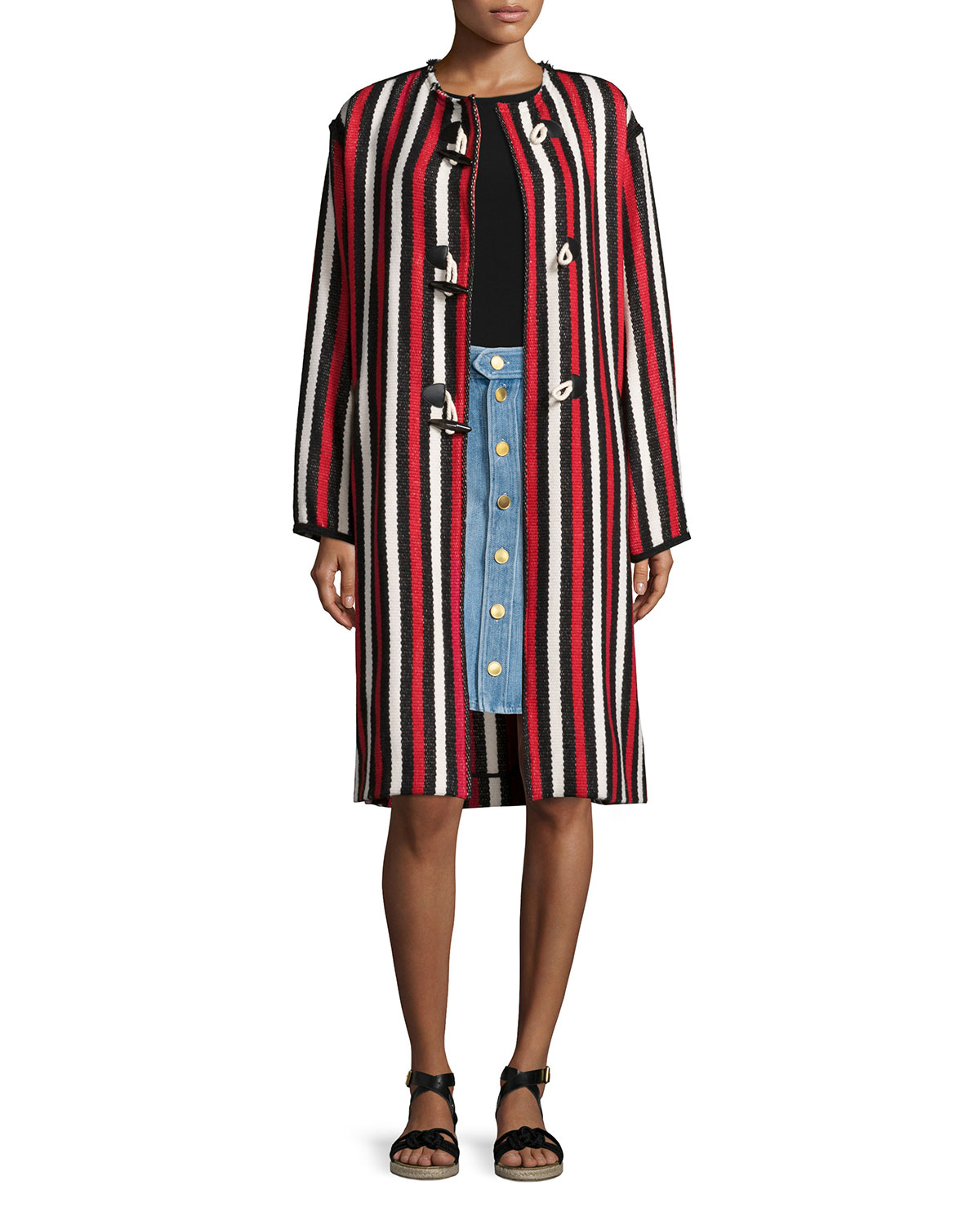 Belia Striped Long Blanket Coat, Red