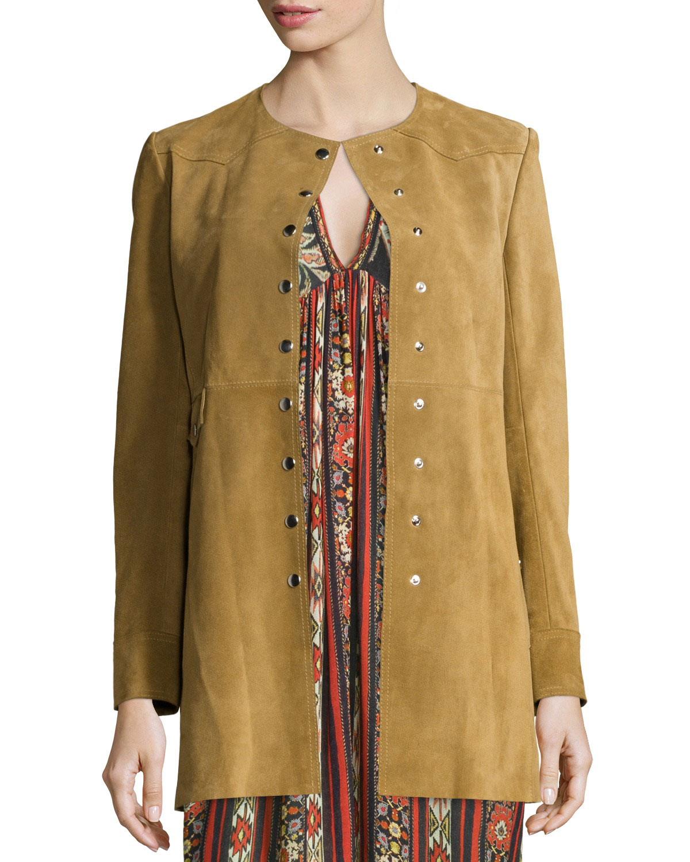 Adler Long Suede Coat, Camel
