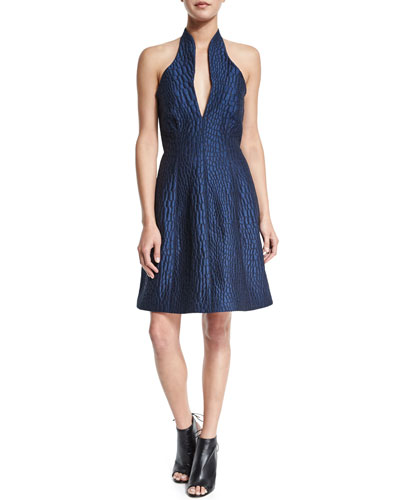 Embossed Fit-&-Flare Dress, Smokey Blue/Charcoal