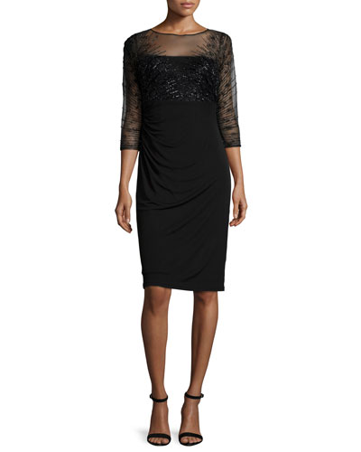 3/4-Sleeve Beaded-Bodice Ruched Sheath Dress