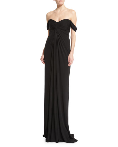 Off-the-Shoulder Jersey Column Gown