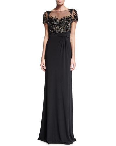 Short-Sleeve Beaded Bodice Column Gown