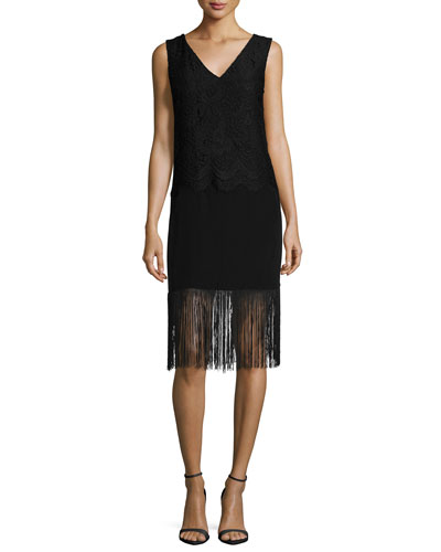 Sleeveless Lace-Top Cocktail Dress with Fringe