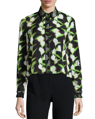Fabia Long-Sleeve Floral-Print Blouse, Black/White/Tennis