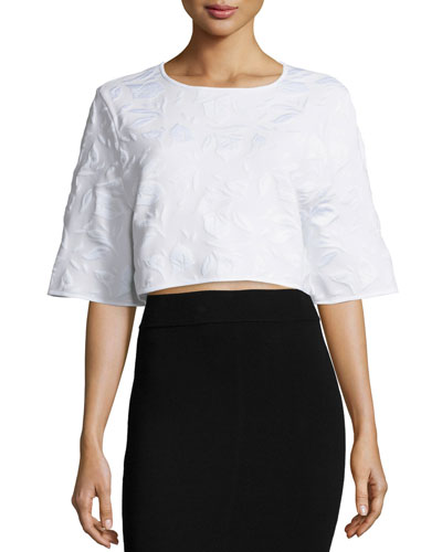 Tracy Half-Sleeve Crop Top, White