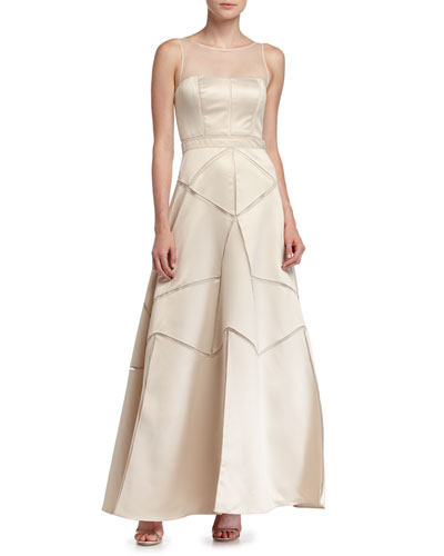 Satin Fit & Flare Illusion Gown