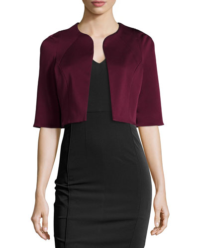 Drew Half-Sleeve Cropped Jacket, Wine