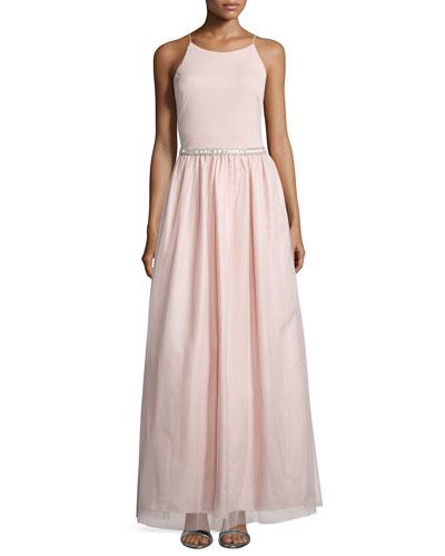 Sleeveless Embellished-Waist Ball Gown, Petal