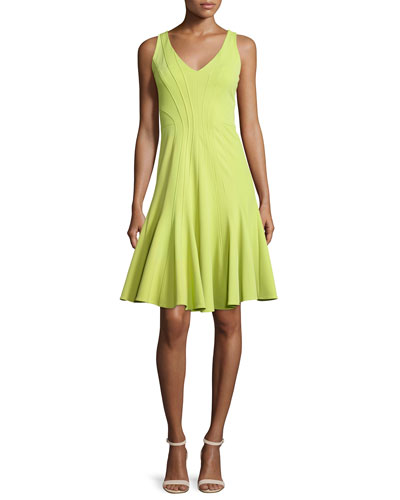 Addisyn V-Neck Fit-&-Flare Dress, Moss