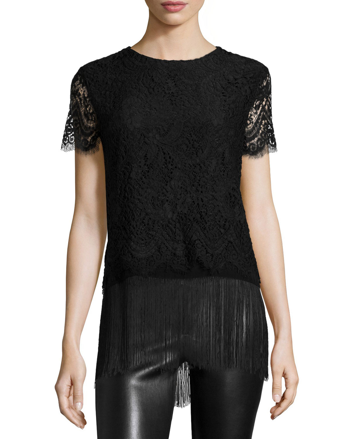 Short-Sleeve Lace Top W/Fringe Hem