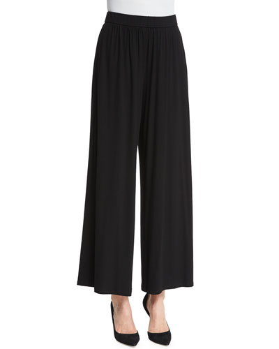 High-Waist Long Skirted Pants, Black