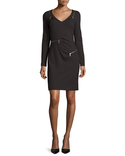 Long-Sleeve V-Neck Ponte Zipper Sheath Dress