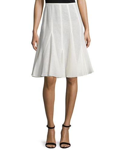 Mid-Rise Linen Flirt Skirt, Ivory