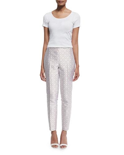 Slim-Leg Floral-Eyelet Ankle Pants, White/Suntan