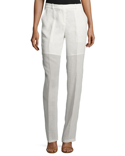 Mid-Rise Illusion Cargo Pants, Ivory