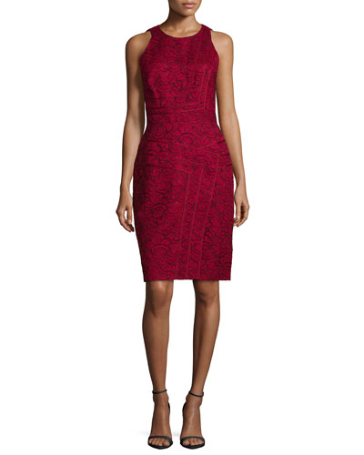 Sleeveless Floral-Print Sheath Dress, Maroon