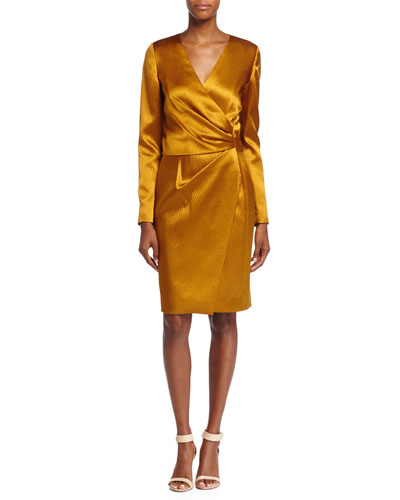 Silk Long-Sleeve Deep-V Wrap Dress, Ochre