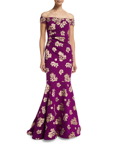 Off-the-Shoulder Floral Jacquard Mermaid Gown