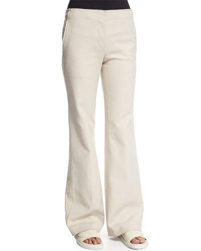 Raw Seam Flare-Leg Pants, Oyster