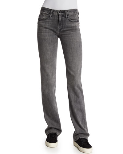 Flare-Leg Denim Jeans, Light Gray