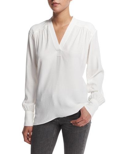 Kimono Long-Sleeve Blouse, White