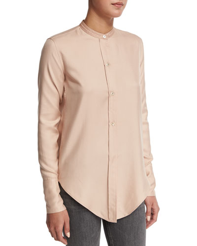 Tuxedo Silk Button-Front Shirt, Apricot