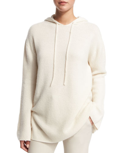 Cashmere Hoodie Sweater, Creme