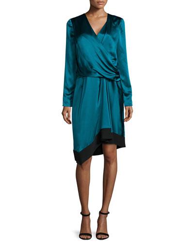 Long-Sleeve Drape-Front Gown, Empress Green/Noir